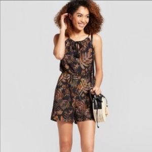 NWT A New Day black brown floral romper rope strap